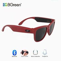 Bgreen condução óssea bluetooth inteligente fone de ouvido de áudio óculos de sol esportes sem fio fone esporte fone estéreo