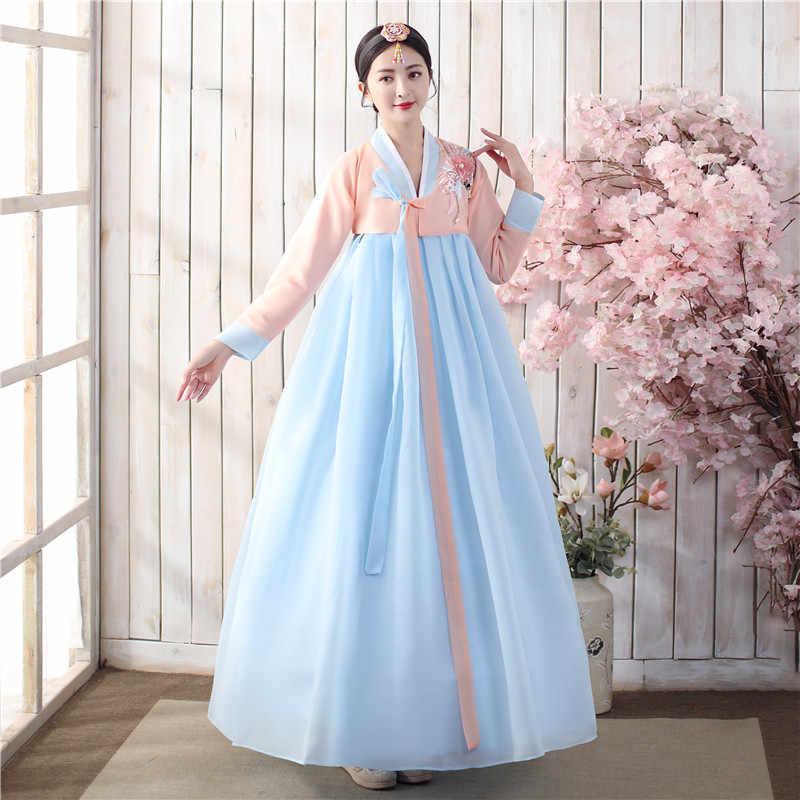 קוריאני Hanbok שמלת עתיק מסורתי שלב ריקוד תלבושות נשים אסיה בגדי ליידי ארמון קוריאה חתונה Oriantal ריקוד בד