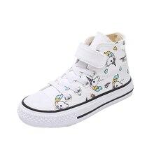2020 dziewczyny jednorożec buty Rainbow wulkanizowane płótno buty dla malucha duże dziewczynki i chłopcy trampki zimowe kostki anglia buty 25 38