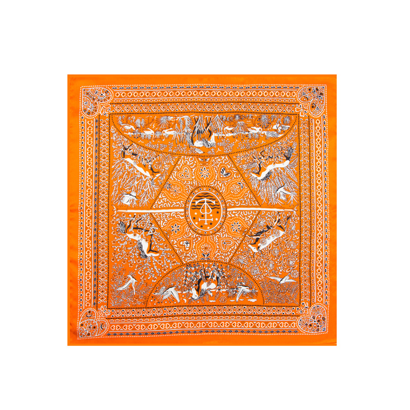 For Both Men And Women Real Silk Mulberry Silk Cross Border For Racecourse Pattern Small Neckerchief Scarf 53 Cm Small Square To