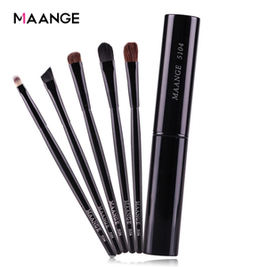 Image 1 - MAANGE 5pcs Pro Eye Shadow Brushes Set Powder Lips Eyebrow Eyeliner Makeup Brush Cosmetic Beauty Make Up Tool Case Kit With Logo