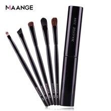 Maange 5 pçs pro pincéis de sombra de olho conjunto em pó lábios sobrancelha delineador maquiagem escova cosméticos beleza compõem kit de ferramentas caso com logotipo