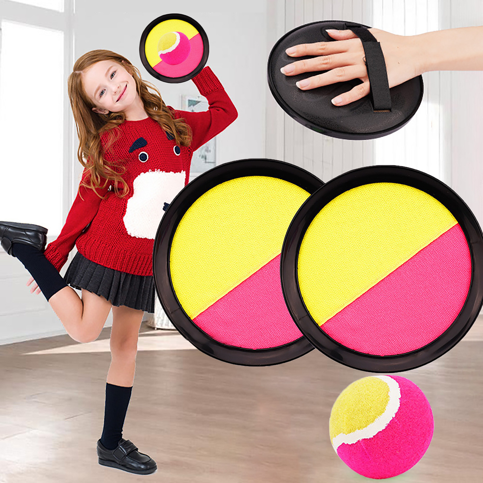 Jogar e pegar bola conjunto para crianças-paddle pegar bola jogos ao ar livre jogar e pegar pai-criança interativo brinquedos ao ar livre gyh