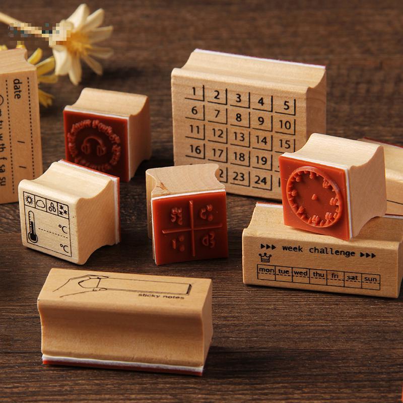 Vintage Weather Week Challenge Label Stamp DIY Wooden Rubber Stamps For Scrapbooking Stationery Scrapbooking Standard Stamp