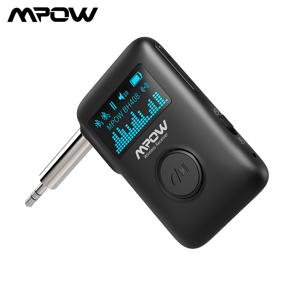 Mpow Bluetooth 5.0 Adapter Wireless Audio Receiver With OLED Display Music Streaming Adapter 3D Surround For Car Aux Home Stereo