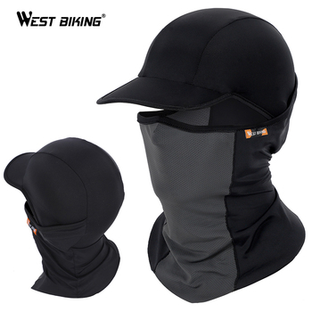 WEST BIKING Summer Cycling Full Face Mask Hat Skin Cool Ice Silk Breathable UV Protection Sports Mask Camping Hiking Bike Cap