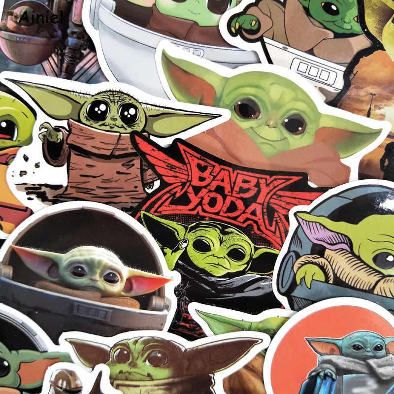 50 pçs mandalorian adesivo star wars adesivos bebê yoda dos desenhos animados mala portátil bicicleta carro adesivos à prova dwaterproof água decoração de casa