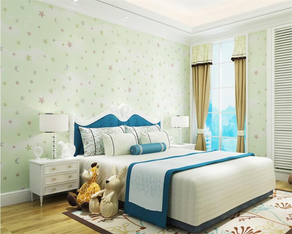 Купить с кэшбэком Beibehang Deep embossed pink blue sky white clouds stars papel de parede wallpaper children bedroom baby room wallpaper