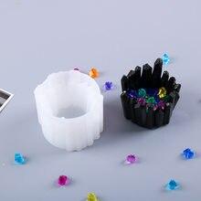 De cristal bricolaje molde de resina Epoxy de cristal nuevo soporte de piedra para velas molde de silicona Manual espejo almacenamiento caja de silicona molde para Resina