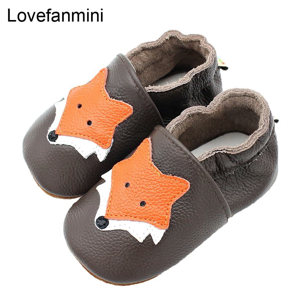Baby Shoes Soft Genuine Cow Leather Baby Boys Girls Infant Toddler Moccasins Shoes Slippers First Walkers Non-slip Fox 115