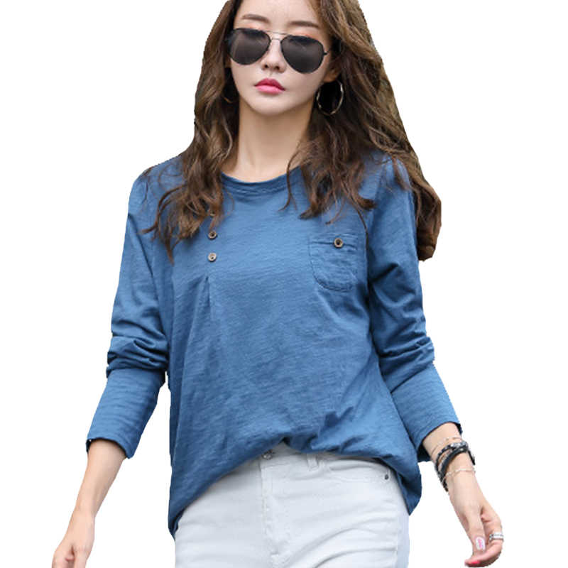 Cotton Blouse Women Long Sleeve Large Size Women's Shirt O Neck Casual Tops Female Blouses Blusas Feminino 2019 Autumn Clothes
