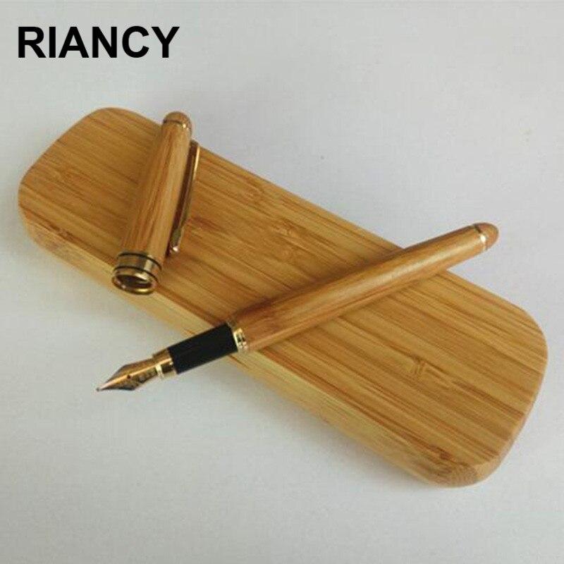 Bamboo Luxury Fountain Pen Ink Pen Nib 0.5mm Stationery Penna Stilografica Writing Pocket Pens Caneta Stylo Plume 03880