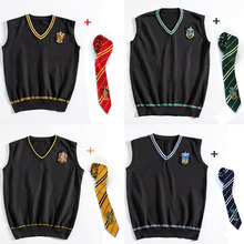 Hermione Cosplay Gryffindor Slytherin Ravenclaw Hufflepuff Sweater With Tie Waistcoat all-match Daily Clothes Potter Costumes