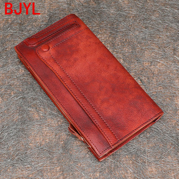 2020 vintage leather wallet women cowhide multi card slot mobile phone long wallet casual men and women vertical leather wallets