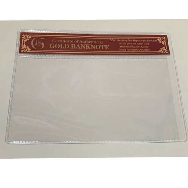 10pcs Gold Banknote COA Sleeve Certificate Currency Money Holder PVC Frame