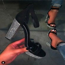 Sexy Platform Women's Rhinestone Sandals Ankle Strap Shoes High Heels Ladies Party Shoes Bling Crystal Open Toe Sandals 2020 New new sexy blue suede sandals women cool rhinestone jeweled high heels shoes summer cut outs ankle strap party shoes pumps jawakye