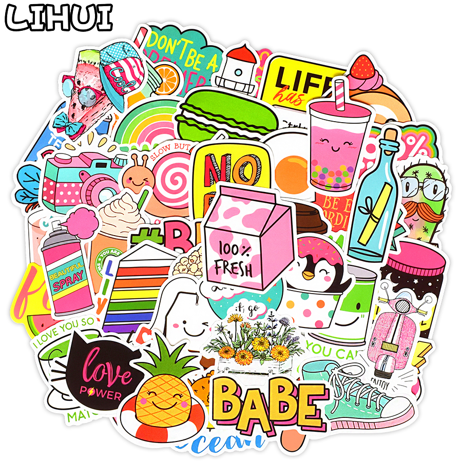 50 PCS Kawaii Vsco Girls Stickers For Children Toy Waterproof Sticker To DIY Stationery Laptop Luggage Bicycle Helmet Car Decals