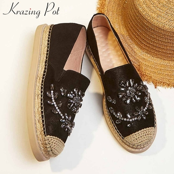 Krazing pot gorgeous shiny crystal genuine leather slip on loafers shoes round toe med heels fashion beauty lady new pumps L10