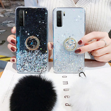 Fur Ball Holder Case for Huawei P Smart 2019 2021 Z Cases Glitter Silicon P20 P30 P40 Pro P9 P10 Plus P8 Lite 2018 Mini Cover