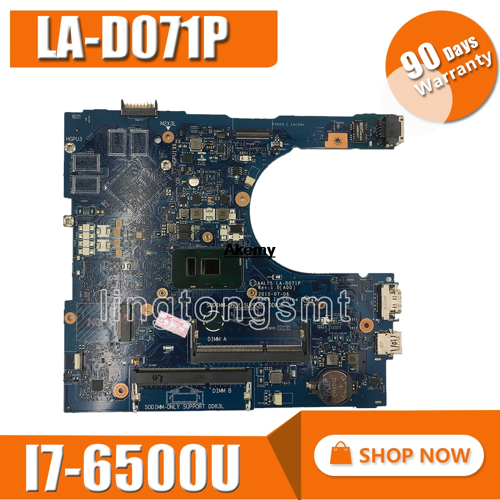 CN-0RV4XN RV4XN I7-6500U FOR Dell INSPIRON 15 5559 Laptop Motherboard AAL15 LA-D071P REV:1.0(A00) Mainboard