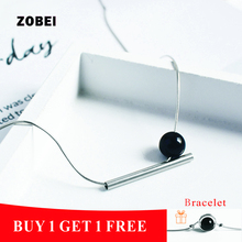 ZOBEI 925 Sterling Fine Jewelry Unique Design Choker  Pendant Black Agate Necklaces   For Women Party Gift