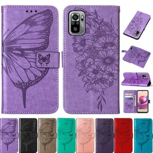 Image 1 - Vlinder Bloem Leather Telefoon Case Voor Xiaomi Redmi Note 10 10S Pro 9 9T Poco X3 Nfc F3 m3 Mi 10S 11 Wallet Flip Back Cover