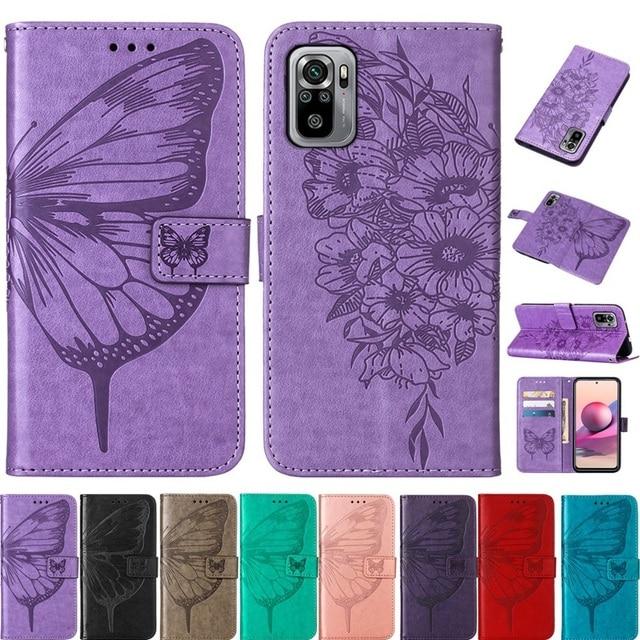 Vlinder Bloem Leather Telefoon Case Voor Xiaomi Redmi Note 10 10S Pro 9 9T Poco X3 Nfc F3 m3 Mi 10S 11 Wallet Flip Back Cover