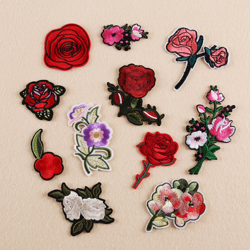 Flower Patches Iron on Patches for Clothing Stripes Flower Badges Stickers on Clothes Embroidered Patches for Clothing Appliques