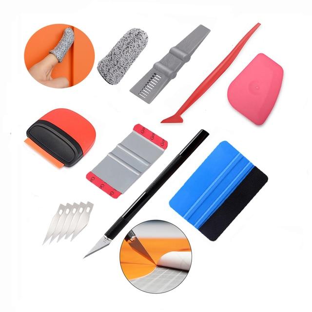 EHDIS Car Window Tint Tool Set Carbon Fiber Squeegee Car Tinting Vinyl Wrap Tool Auto Car Accessories Sticker Film Cutter Knife