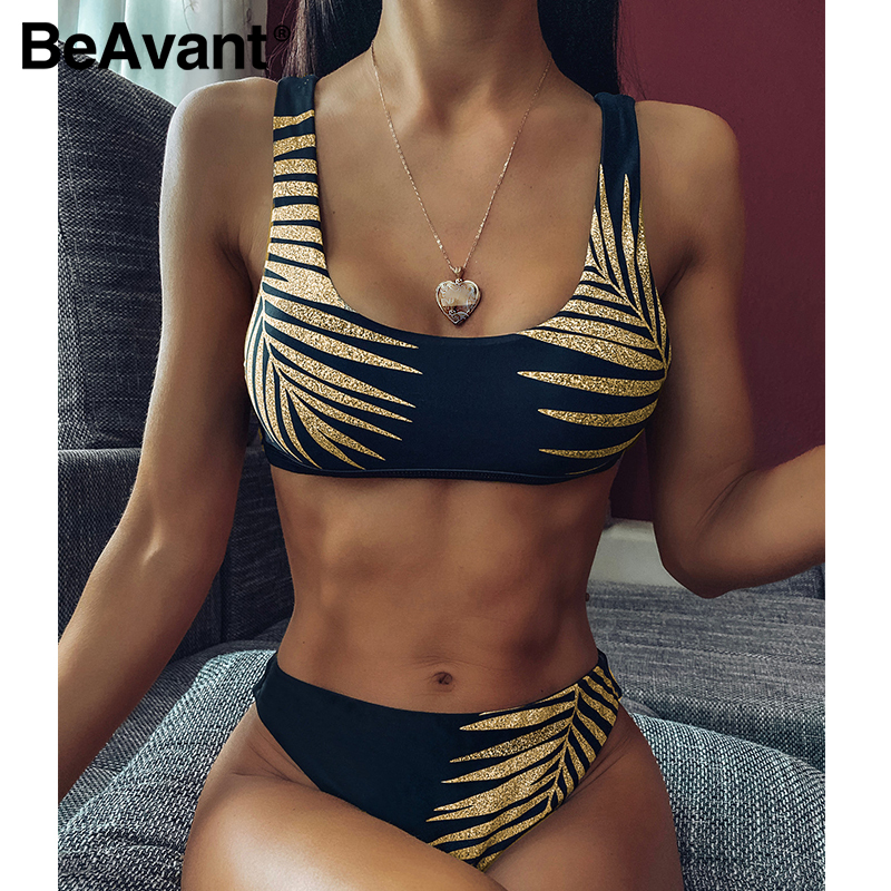 BeAvant Black Leaf Print Female Bathing Suit 2020 High Cut Summer Boho Swimwear Biquini Women Bandeau Sexy Brazilian Swimsuits