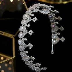 Lange Zirkonia Weibliche Braut Crown Schmuck Parade Headwear Volle Hochzeit Haar Zubehör