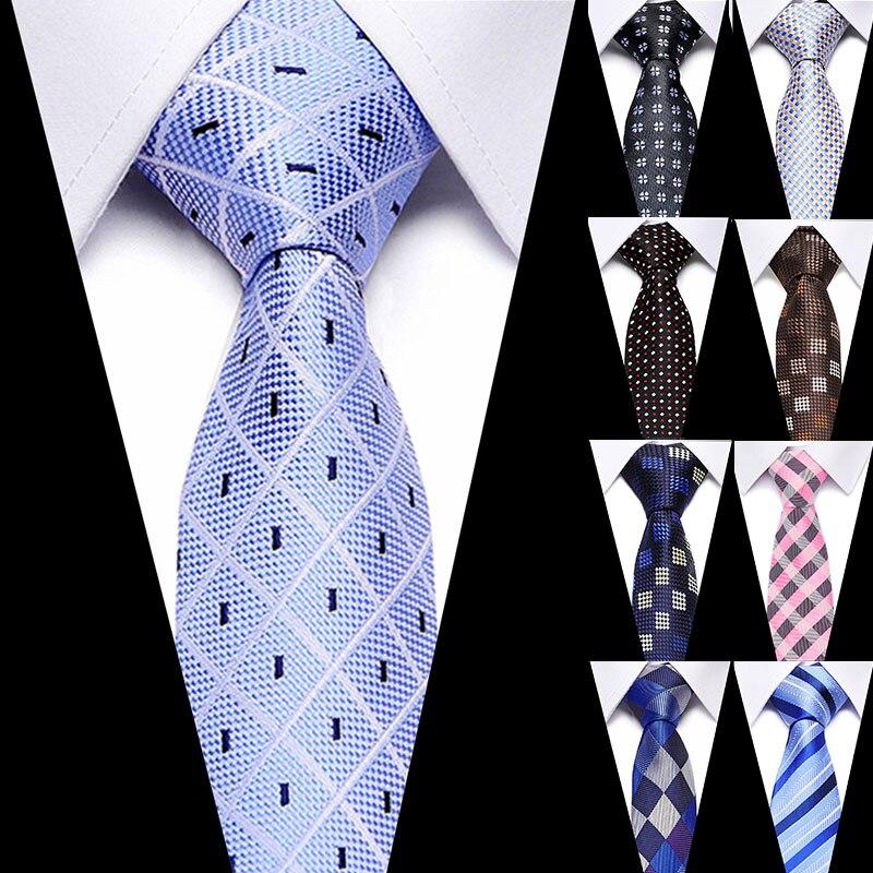 Luxury 100% Silk Jacquard Woven Neck Tie Suit Plaid Tie For Men 7.5cm Necktie Wedding Party Formal Business Accessory Ties