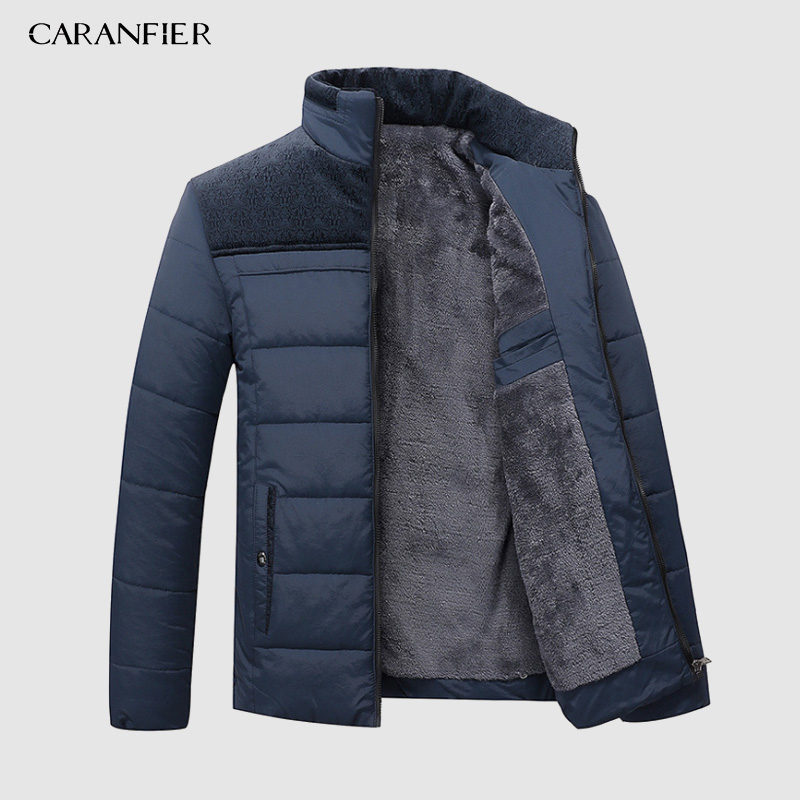 CARANFIER Winter Jacket Men Parka Casual-Stand Warm Thick Fashion-Brand Outerwear High-Quality