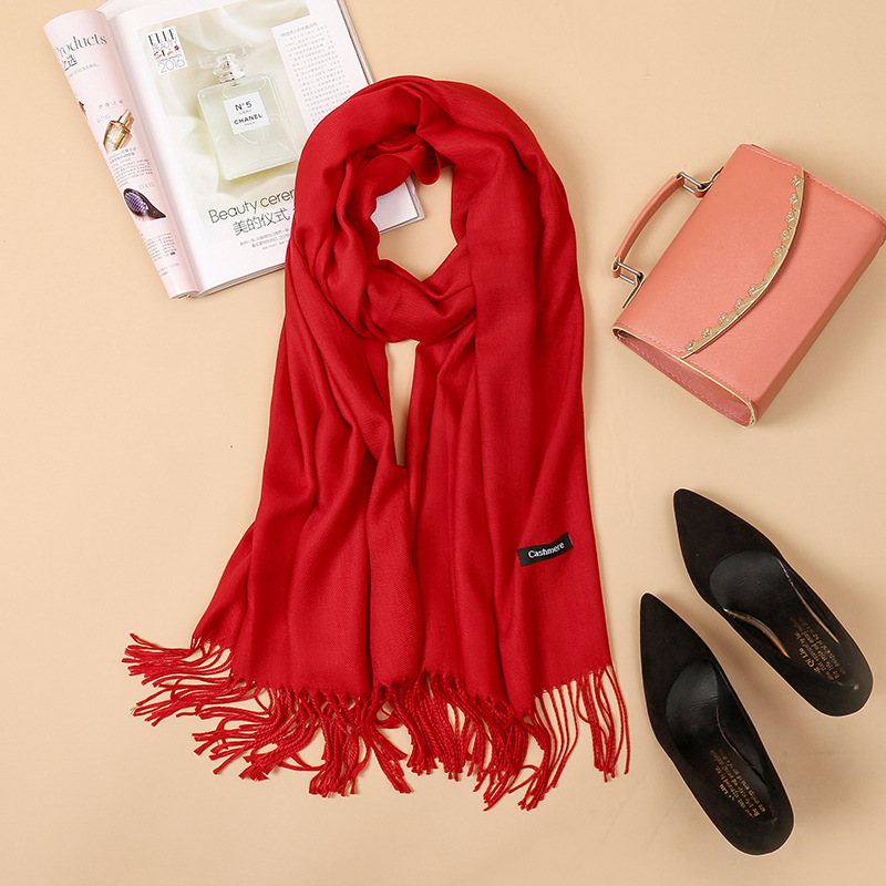 Cashmere Scarf Women Autumn And Winter Imitation Cashmere Solid Color Fringed Scarf Warm Cashmere Scarf Shawl Chinese Red