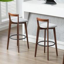 Taburetes de Bar estilo Vintage americano para recepción de restaurante, silla de Bar con respaldo para el hogar, taburete de Bar sencillo de madera sólida de estilo nórdico