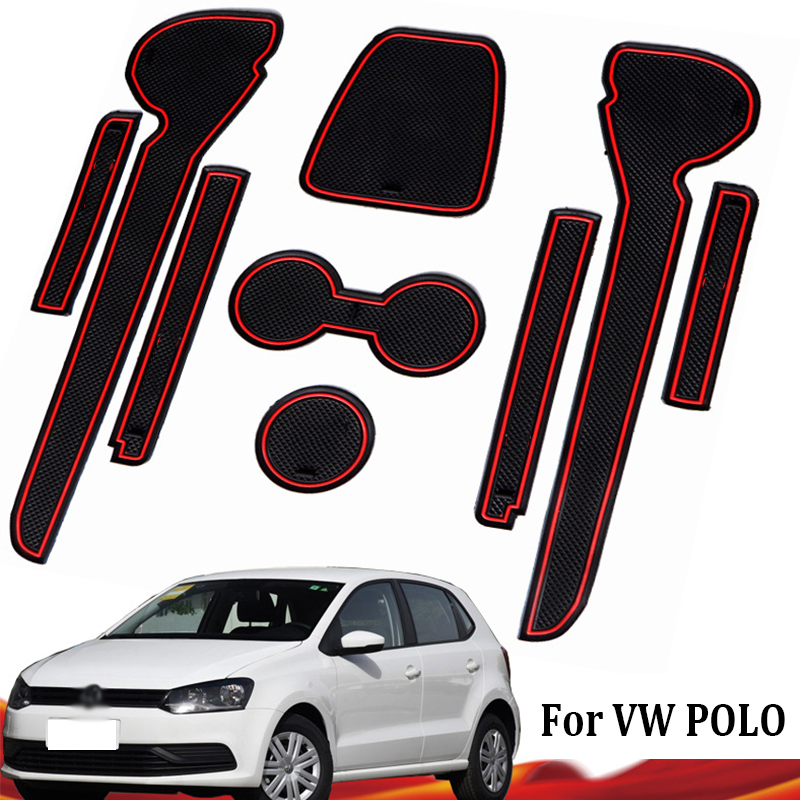 For Volkswagen GTI Accessories Anti-Slip Rubber Mats Gate Slot Mat For VW POLO 6R 6C 2010 2011 2012 2013 2014 2015 2016 2017 MK5