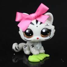 Raro pet shop branco cinzento tigre gatinho gato animal lps #3585 rosa bowknot