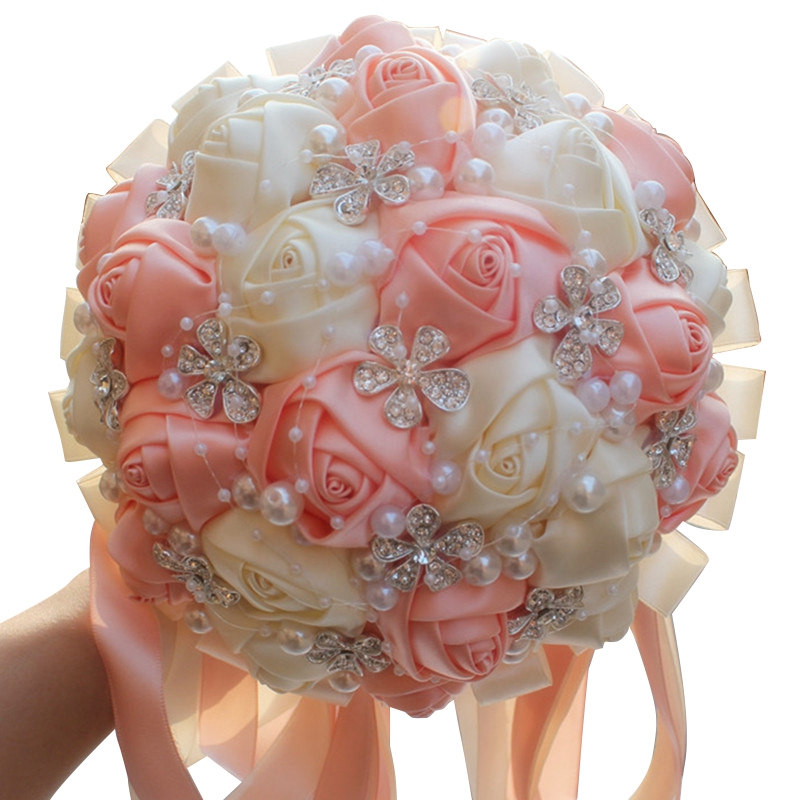 Gorgeous Crystal Ivory Wedding Bouquet Satin Rose Flower Bouquets Ribbon Wedding Bridal Bouquet