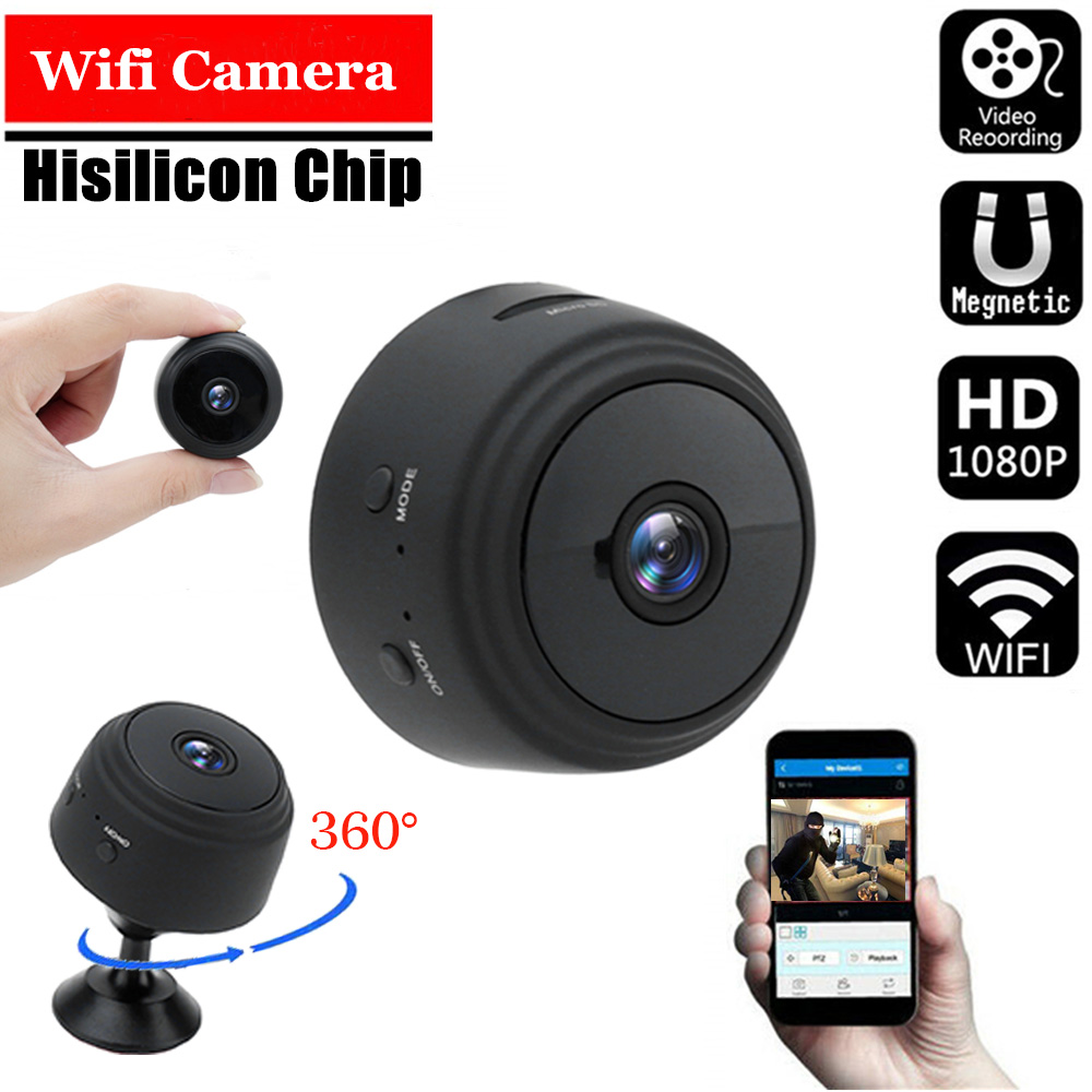 A9 1080P Wifi Mini Camera, Home Security P2P Camera WiFi, Night Vision Wireless Surveillance Camera, Remote Monitor Phone App title=