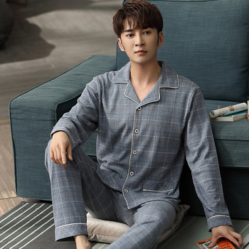 Cotton Men Pajamas Long Sleeve Spring and Autumn Winter Middle Aged Elderly People Dad Homewear Set
