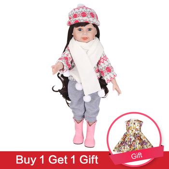 UCanaan 18inch 45CM Girl Doll Handmade Soft Full Vinyl Silicone Dolls Toy for Little girl ( clothes + shoes + Headwear )-Tina