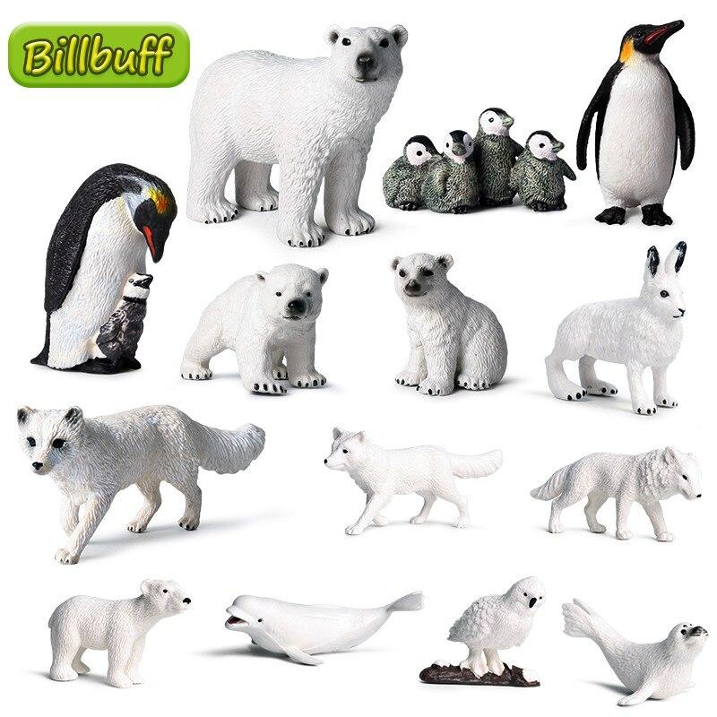 Juego de simulación de animales salvajes del Ártico para niños, juguete educativo cognitivo, oso Polar, pingüino, Cub, Zoo