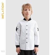 INFLATION Children Clothes 2019 Autumn New Arrival Boys Shirts White Color Long Sleeve Shirt Fashion Style Kids SW9632