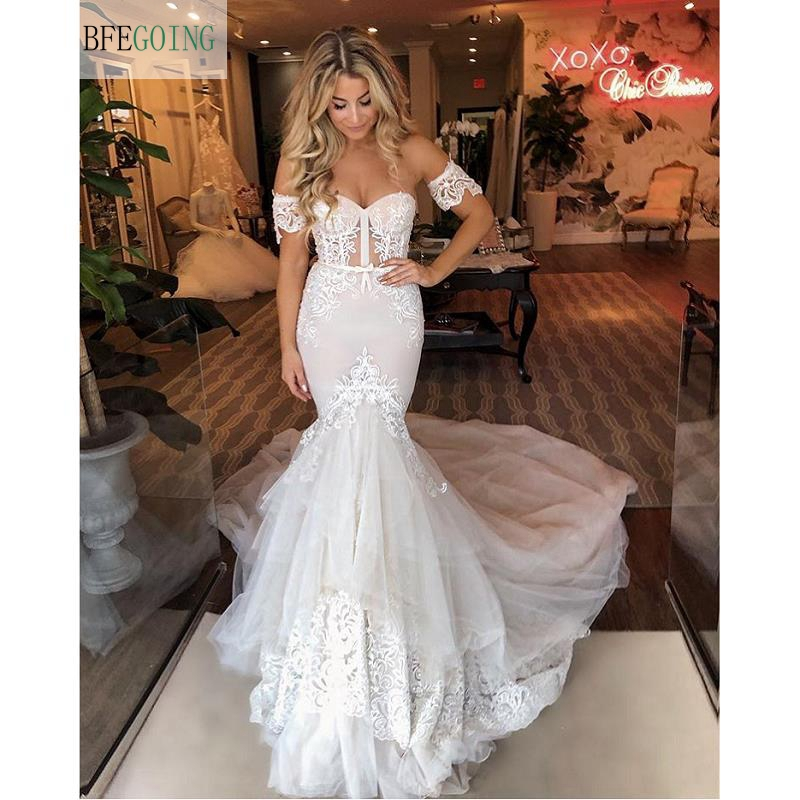 Ivory Lace Sweetheart Floor-length Strapless Mermaid/Trumpet Wedding Dress Bridal Gown  Chapel Train Custom Made