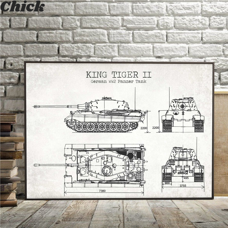 WW2 Tank Patent Vintage Posters And Prints German Tank King Tiger 2 Blueprint Art Canvas Painting Boys Gifts Wall Art Decor image