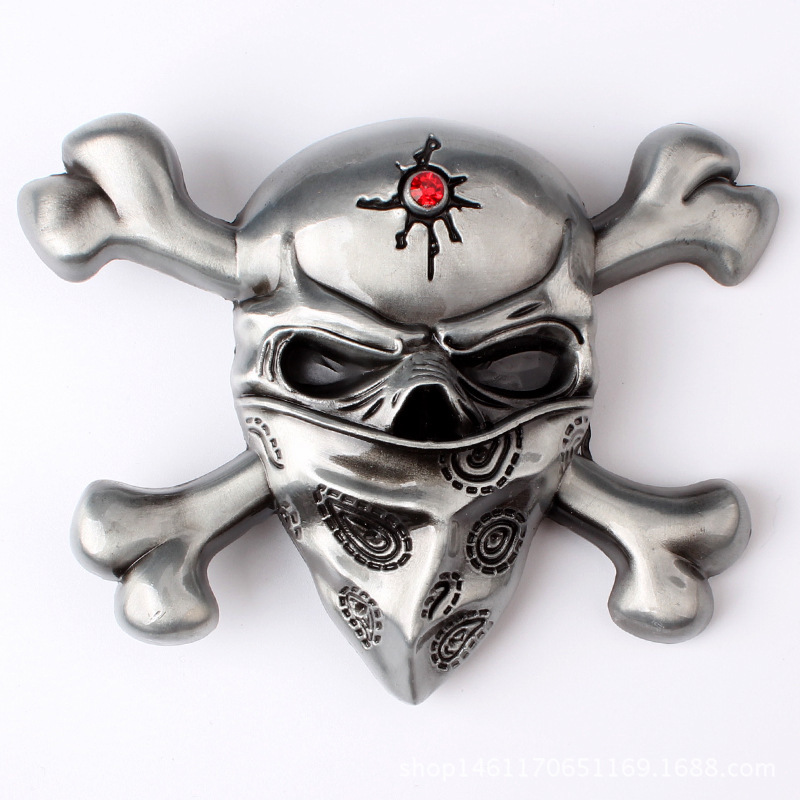 Belt DIY Accessories Skull Skeleton Belt Buckle Western Cowboy Style Smooth Belt Buckle Punk Rock Style K36