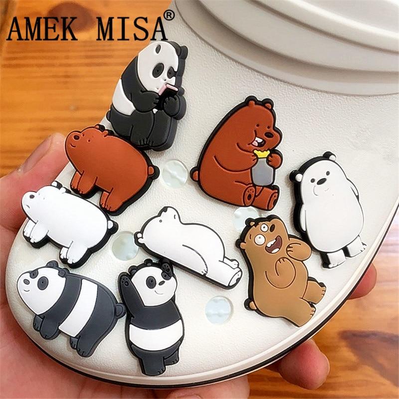 1 To 3pcs Animals Style PVC Shoe Charms Decoration Panda/Polar Bear/Brown Bear Shoe Accessories For Croc Jibz Kid's Party X-mas