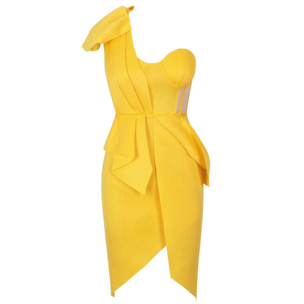 Женское облегающее платье Ocstrade, желтое платье с оборками на одно плечо, вечерние платья знаменитостей, лето 2020