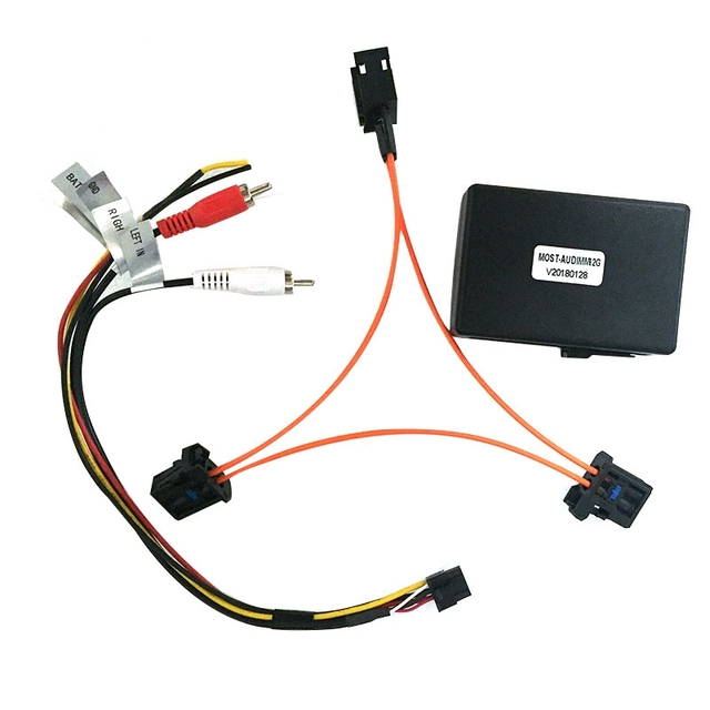 3c para audi a6 a7 a8 q7 05 09 adaptador de amplificador de caixa de decodificador de fibra óptica do carro aux