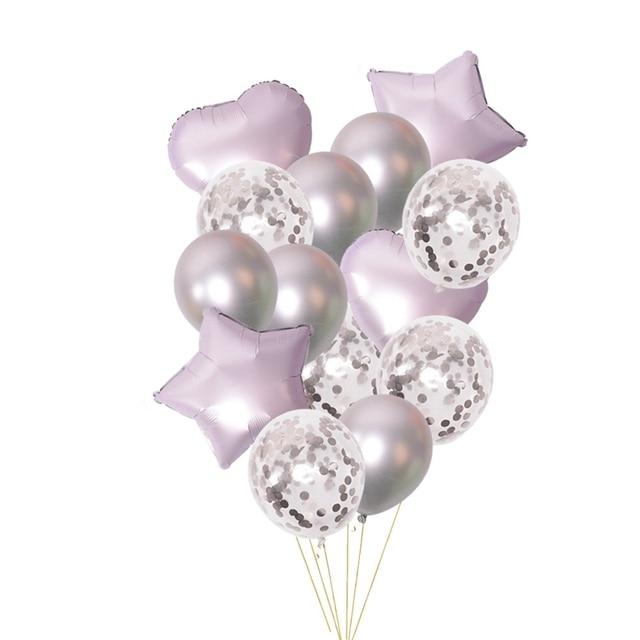 Ballons confettis en Latex pour anniversaire, 14 pièces, en forme détoile en métal, pour décoration, fournitures de mariage, pour fête prénatale pour enfants